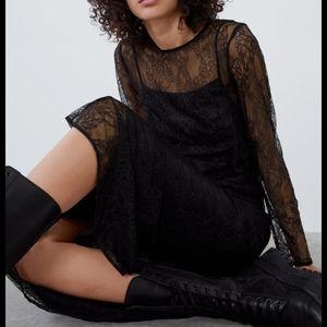 NWT Zara Lace Black Dress Long Small S